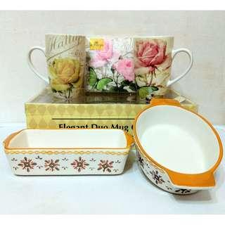 Evergreen陶瓷玫瑰花有柄對杯禮盒一套及歐陸風陶瓷焗盤烤2個
