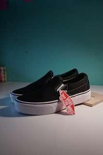 VANS SLIP ON PLATFORM BLACK WHITE ORIGINAL