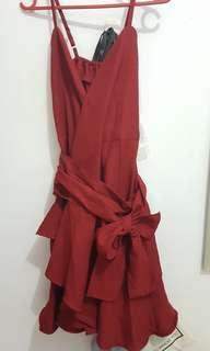Maroon wrap dress