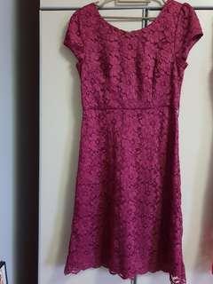 Maroon pink joan ellen lace dress