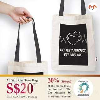 🚚 A3 Canvas Cat Tote Bag