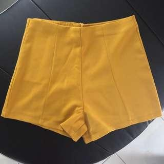 High Waist Short Pants (Mustard/Black) #cny888