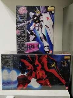 全新 Bandai MG高達模型 沙撒比 及 Nu Gundam 1:100 共兩盒