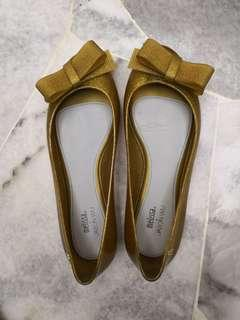 Melissa + Jason Wu flats with bow in gold