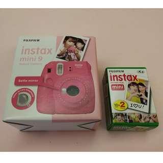 Fujifilm instax mini 9 Instant Film Camera (Flamingo Pink) FOC 10 Sheets film x2 packs #CNY888