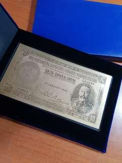 uob 1935 straits settlements note in gold foil