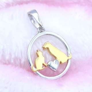 Dog & cat with love gold plated silver diamond pendant, PEN-322, Tigarpaws collection