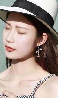 BN Gold Rose Drop Earrings