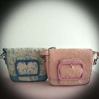 Sling Bag With Lace (blue/pink)