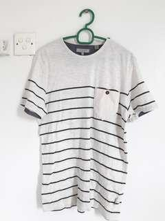Authentic Ted Baker Beige T-shirt with Dark Blue Stripes