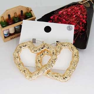 Boho Gold Heart Earrings