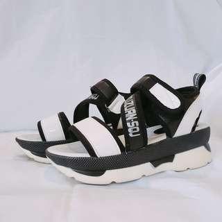 7d7c730abf4 Synthetic Leather Platform Sandals by YOSUKE (Japan)