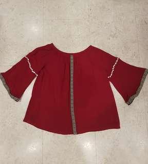 Boho off shoulder/bell sleeves top