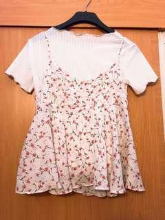 🚚 韓風碎花洋裝上衣