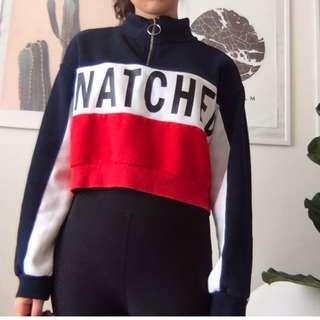 Red, white and blue zipper turtle neck cropped sweater/sweatshirt