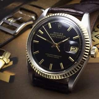 SOLD-     36mm Rolex Datejust in Rich Gloss Black