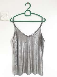 Valleygirl Silver Shiny Party Sleeveless Top