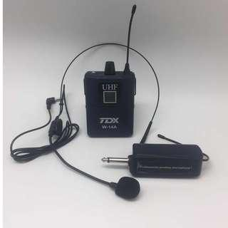 TDX W-14A UHF Wireless Microphone (10 selectable channel) - Bodypack with HeadClip Mic