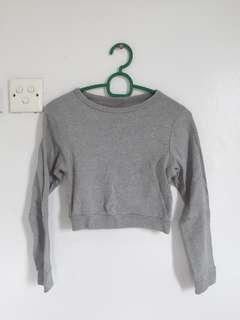Grey Cropped Long-sleeved Sweater