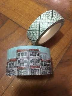 Souvenirs from Singapore washi tapes - window grill & shophouses