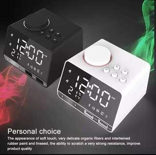 LED Alarm Clock FM Radio,with Wire--less Bluetooth Speaker Player,USB Fast Charge Port, Indoor Temperature