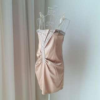 FREE FOC Champagne Gold Beaded Dress