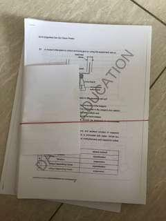 Secondary 4 combined chemistry test papers
