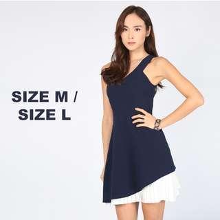 🚚 Love, Bonito Phebyla Pleat Underlay Dress in Navy
