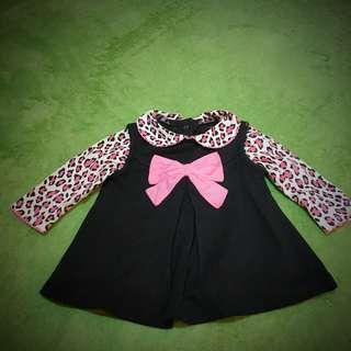 🚚 女寶 長袖 粉黑上衣 0-3m