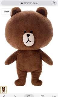 Line Brown Bear Plush Toy
