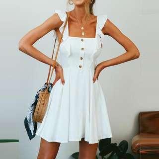 Brand New Ruffled Sleeve Elegant White Dress