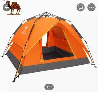 CAMEL Automatic Tent 3-4 Person Sunshade Waterproof Windproof Beach Tents,with Carry Bag for Camping Hiking Travel (MY) with free air pillow worth RM30+
