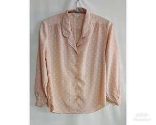 《壓箱寶》二手古著 粉裸色圓點長袖襯衫