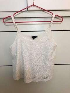 Forever 21白花鏤空吊帶背心white lace tank top A&F Abercrombie & Fitch AF Hollister HCO AEO