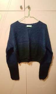 【包郵】深藍漸變黑色短身薄冷衫
