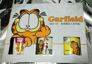 #半價居家拍賣會 GARFIELD加菲貓五入水杯組 手提禮盒 無手把馬克杯