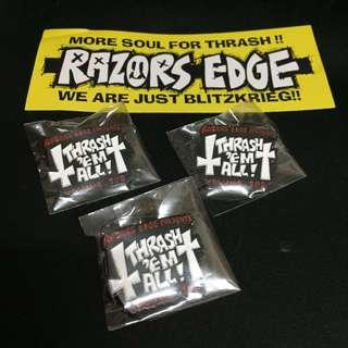 Thrash Em All Vol100 Metal Pin Badge (Razors Edge One Man Show In Osaka) Japan