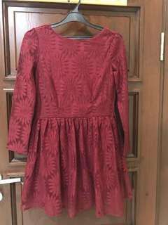 Red lacey long sleeved dress