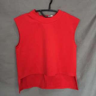 red scuba crop top