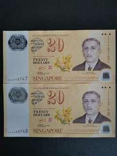 40th Anniversary CIA SG $20 Polymer Notes × 2pcs - nice nos.