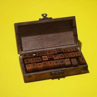 30 pcs Wooden Rubber Letter Stamps