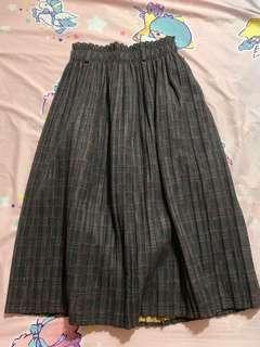 日系 秋冬款 格仔 復古 半身裙