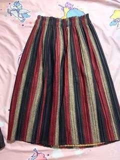 日系 秋冬款 復古 條紋 半身裙