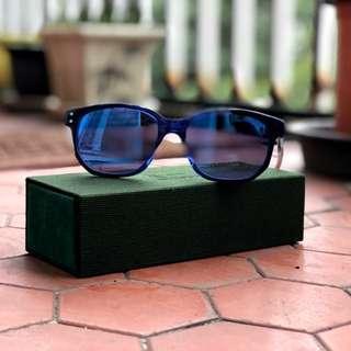 GLASENSE GSH-002 藍色水銀鏡片透明鏡腳卯丁復古墨鏡太陽眼鏡台灣品牌手工板材耐摔時尚可拋光維修自製系列