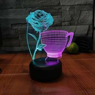 Beautiful 3D Roses LED Night Light Decor [CR0032]