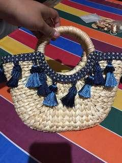Summer Rattan Hand Bag with Tassel