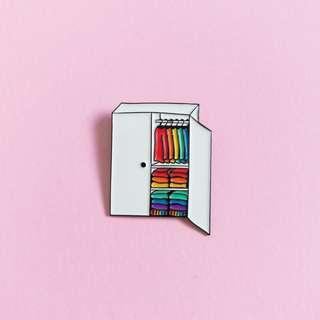 "🚚 LGBT gay pride ""Welcome to my closet"" enamel pin"