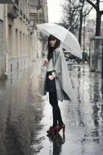 Transparent umbrella with white handle