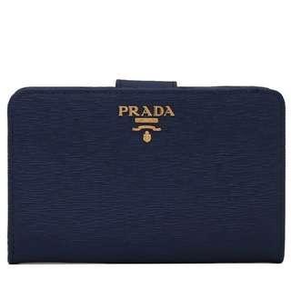 🌸 100% Authentic Prada Saffiano Wallet in Navy