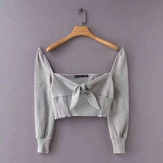 🚚 Grey Self Tie Crop